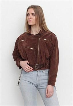 Vintage Brown Suede Cropped Jacket