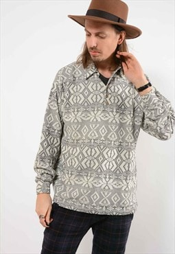 Vintage Patterned Long Sleeve Polo Top