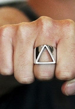 Carpe Diem Man Triangle Ring Sterling Silver
