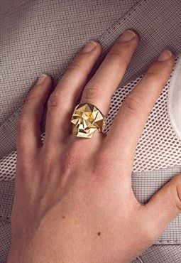 Faceted Skull Golden Ring