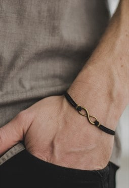Bronze infinity bracelet for men black cords mens jewelry