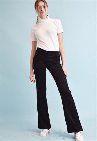 90'S RETRO REGULAR WAIST STRIPED STRETCH FLARE TROUSERS