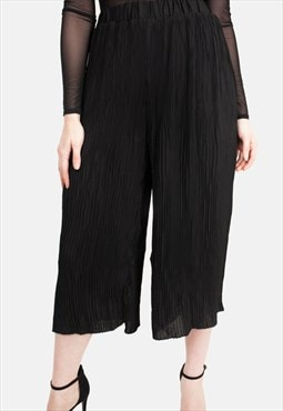 Black Knife Pleated Culotte Trousers