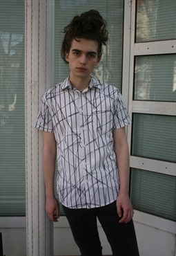 Vintage Broken Lines Patterned Slim Fit Shirt