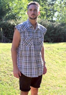 Vintage 90s WRANGLER Sleeveless Western USA Shirt - L/XL