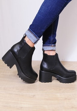 Black Elasticated Pull On Cleated Platforms Ankle Boots