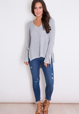 Bella Tie Sleeve V Neck Jumper Grey