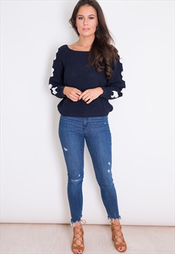 Ellie Lace Up Sleeve Jumper Navy