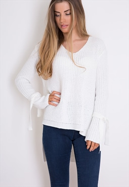 Bella Tie Sleeve V Neck Jumper White
