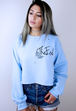 Cropped and Distressed Pastel Wilted Rose Sweatshirt