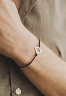 Bracelet for men, silver rhombus blue cord, mens, stainless