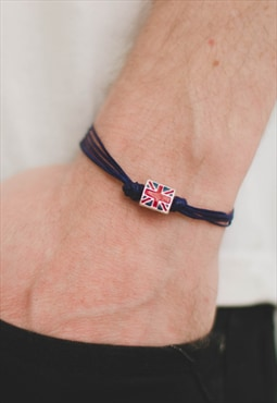 England bracelet for men blue cords UK bead Great Britain