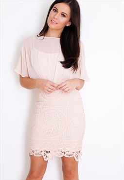 Libby Kimono Lace Mini Dress Blush