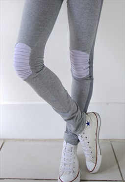 Soft grey panel leggings with lilac suede kneepads