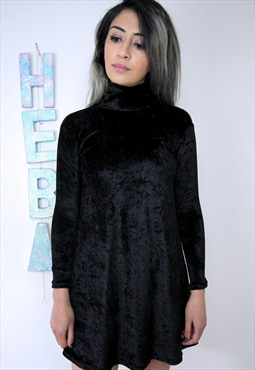 Black Velvet Turtuleneck Dress
