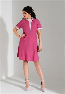 Vintage 1960s mod retro scooter pink shift dress