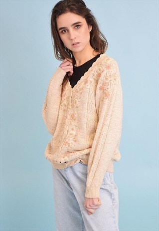 80'S RETRO KNIT FLORAL EMBROIDERY NEUTRAL CARDIGAN
