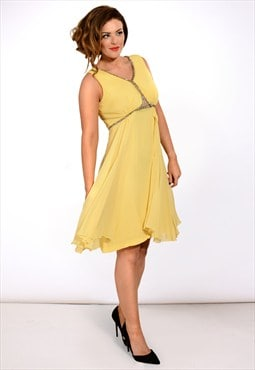Vintage lemon yellow 1950s chiffon evening dress