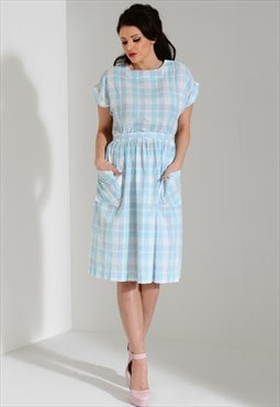 Vintage pastel blue gingham check plaid print shift dress