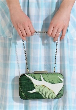 Beverly Hills Vintage banana palm print leaf clutch bag