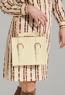 Vintage 1960s cream patent faux leather box satchel bag