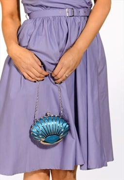 Teal blue satin shell art deco clutch bag 1930s inspired