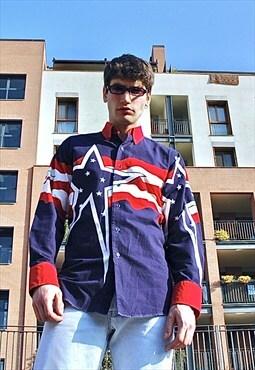 90s Vintage rare Tommy Hilfiger U.S.A. flag pattern shirt