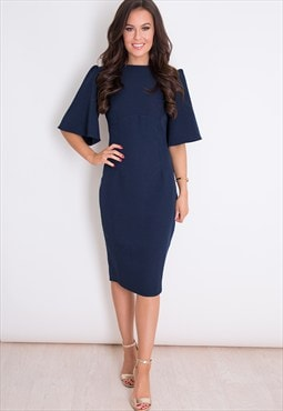 Matilda Flared Short Sleeve Shift Dress Navy
