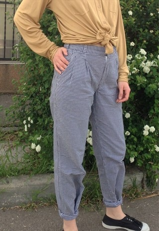 90S HIGH WAISTED COTTON TROUSERS