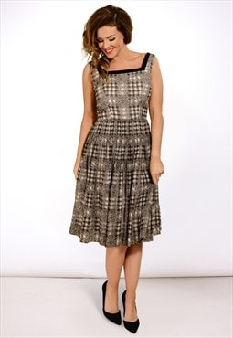 Vintage 1950s houndstooth check tartan full evening dress