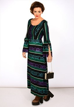Vintage 1970s print maxi long sleeve dress