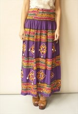 Vintage 1970's Indian Embroidered Cotton Maxi Skirt