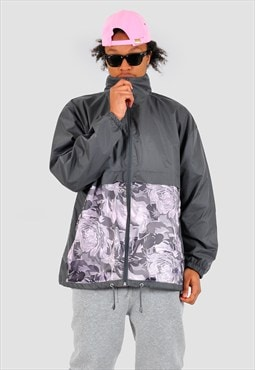 Windbreaker jacket with pink floral front