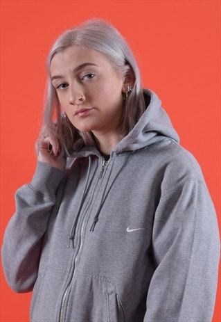 GREY NIKE ZIPPED EMBROIDERED HOODIE