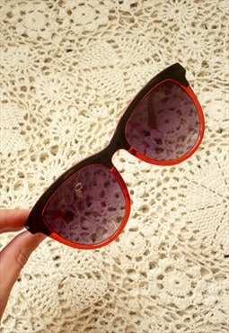 Vintage Inspired Two Tone Black & Red Sunglasses