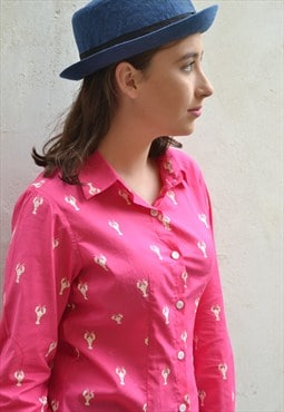 Pink lobster women's shirt.