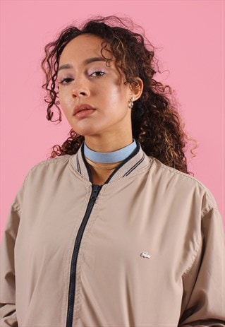 TAN AND BLACK LACOSTE REVERSIBLE BOMBER STYLE JACKET