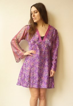 90's Vintage Bohemian Floral Print Chiffon Bell Sleeve Dress