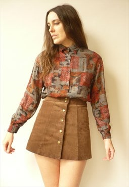 1980's Vintage French Made Retro Printed Slouchy Shirt Top