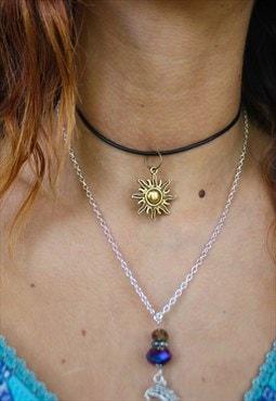 Handmade Boho Gold Sun Choker