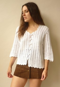 1970's Vintage Hand Knitted White Crochet Hippie Cardigan
