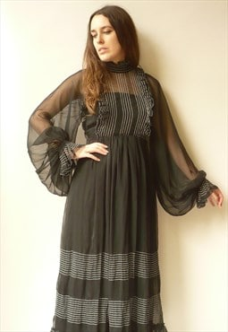 1970s Vintage Black Semi Sheer Victorian Style Chiffon Dress