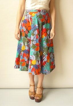 Vintage 1980's Bold Tropical Floral Pattern Midi Skirt