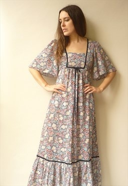 1970's Vintage Victoriana Style Floral Print Maxi Dress