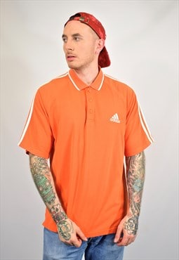 Vintage 90s Adidas Orange Spell Out Logo Polo T-Shirt