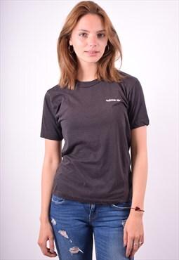 Adidas Womens Vintage T-Shirt Top Medium Brown 90's