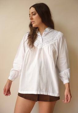 1980s Vintage Indian Made Cotton Victorian Style Smock Shirt