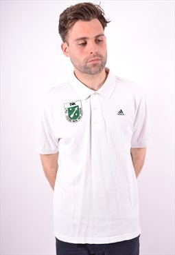 Adidas Mens Vintage Polo Shirt Large White 90's