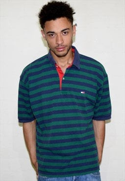 Vintage Green Blue Striped Tommy Hilfiger Polo Shirt