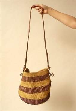 1970's Vintage Leather & Straw Woven Market Sisal Bucket Bag